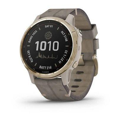 Спортивные часы Fenix 6S Pro Solar,Lt Gold w/Shale Suede Band,GPS Watch,EMEA