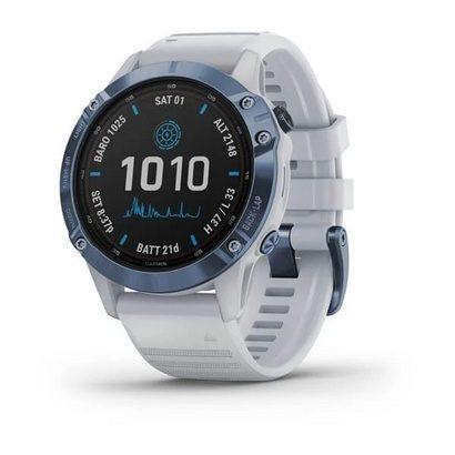 Спортивные часы Fenix 6 Pro Solar,Mineral Blue w/Whitestone band,GPS,EMEA