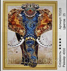 """Картина из страз """"Слон """" 7Д  40*50 см"""