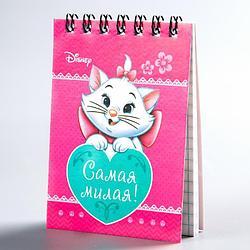"""Блокнот на гребне, """"Коты аристократы"""", Disney, 32 листа, А7"""