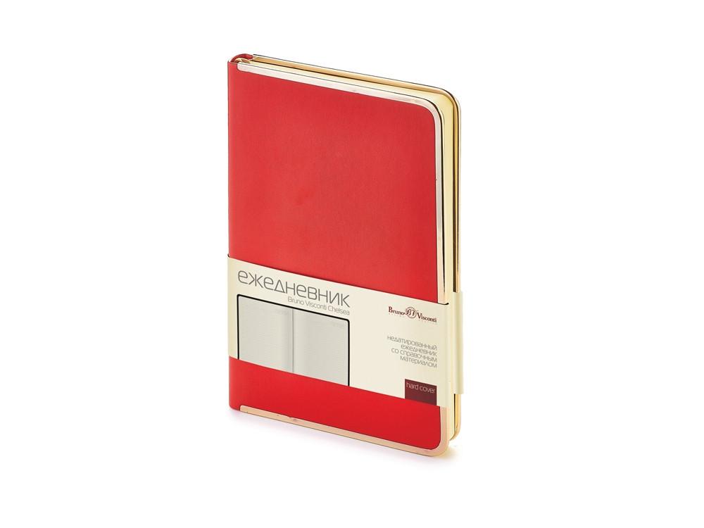 Ежедневник А5 недатированный Chelsea, красный (золотистый кант и срез)