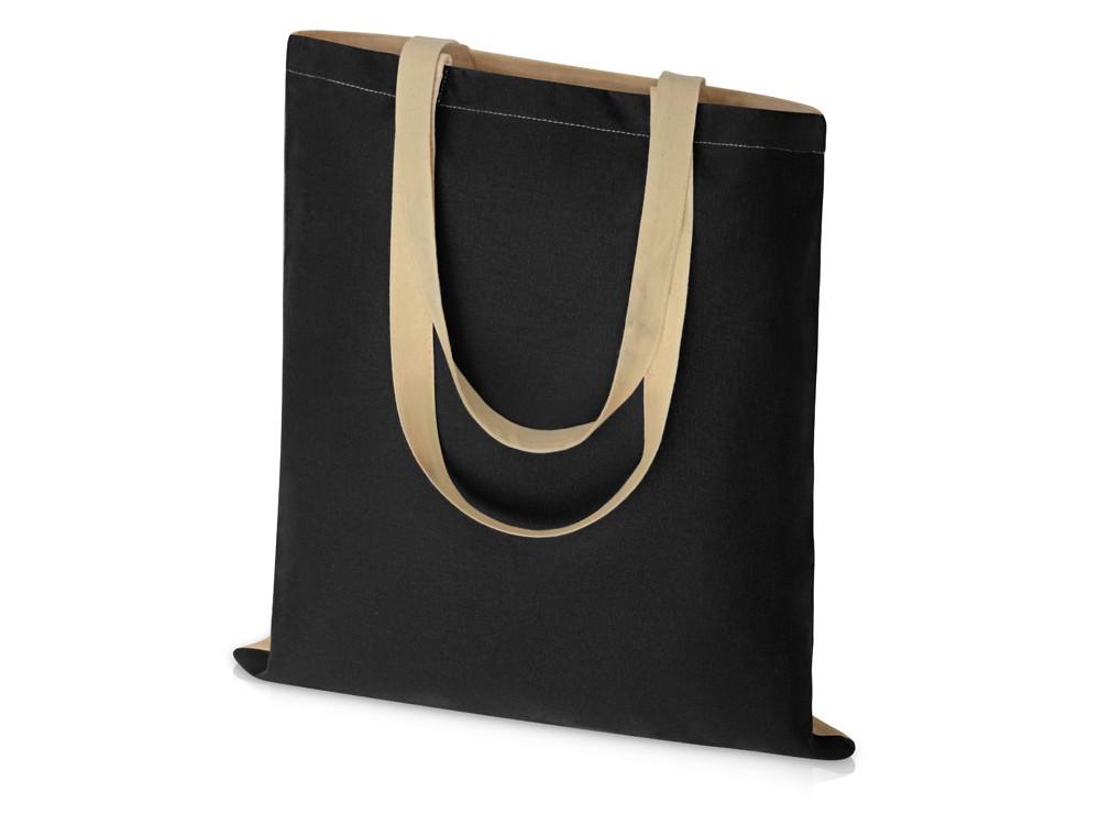 Сумка для шопинга Twin двухцветная из хлопка, 180 г/м2, черный/натуальный