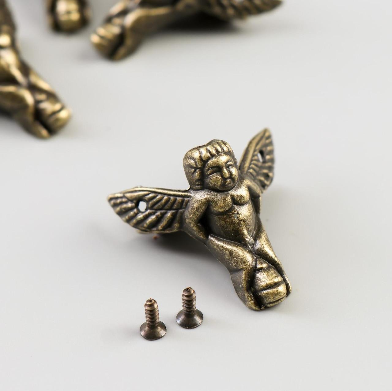 "Уголок (ножка) для шкатулки металл ""Ангел"" набор 4 шт бронза 2,3х2,6х1 см"