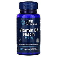 Life Extension, Витамин В3, ниацин, 500 мг, 100 капсул