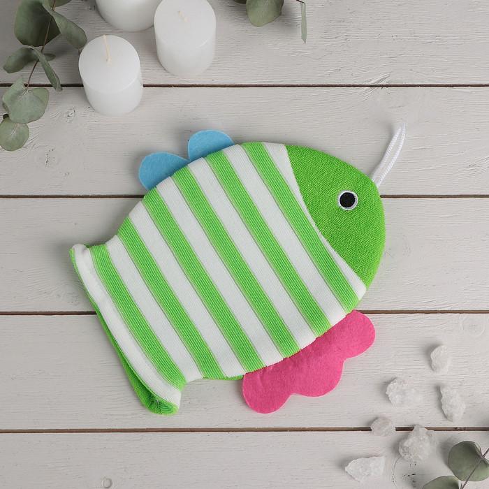 """Мочалка варежка детская 19×21 см """"Рыбка"""", полосатая, цвет МИКС - фото 1"""