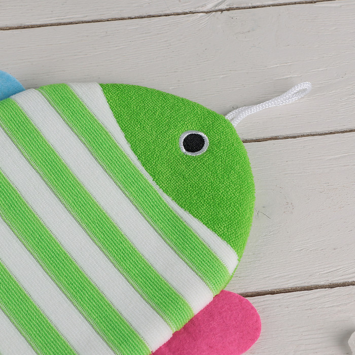 """Мочалка варежка детская 19×21 см """"Рыбка"""", полосатая, цвет МИКС - фото 2"""