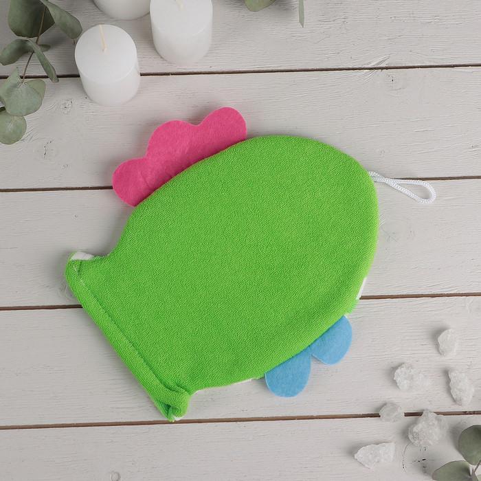 """Мочалка варежка детская 19×21 см """"Рыбка"""", полосатая, цвет МИКС - фото 3"""