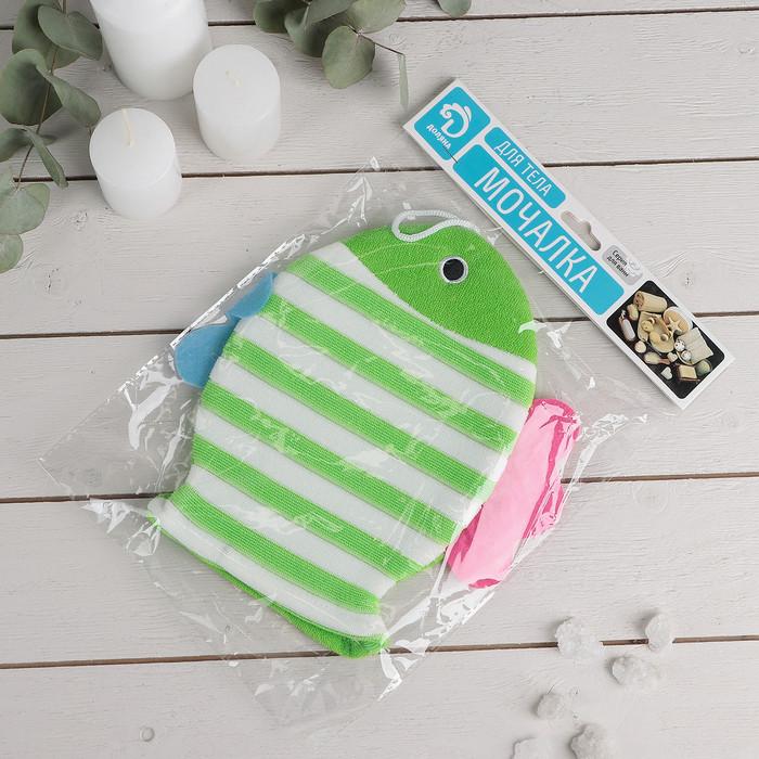 """Мочалка варежка детская 19×21 см """"Рыбка"""", полосатая, цвет МИКС - фото 4"""