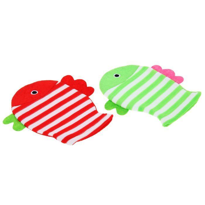 """Мочалка варежка детская 19×21 см """"Рыбка"""", полосатая, цвет МИКС - фото 5"""