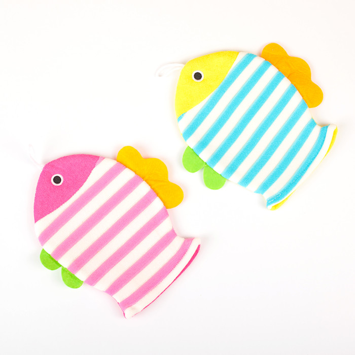 """Мочалка варежка детская 19×21 см """"Рыбка"""", полосатая, цвет МИКС - фото 6"""