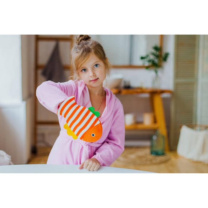 """Мочалка варежка детская 19×21 см """"Рыбка"""", полосатая, цвет МИКС - фото 7"""