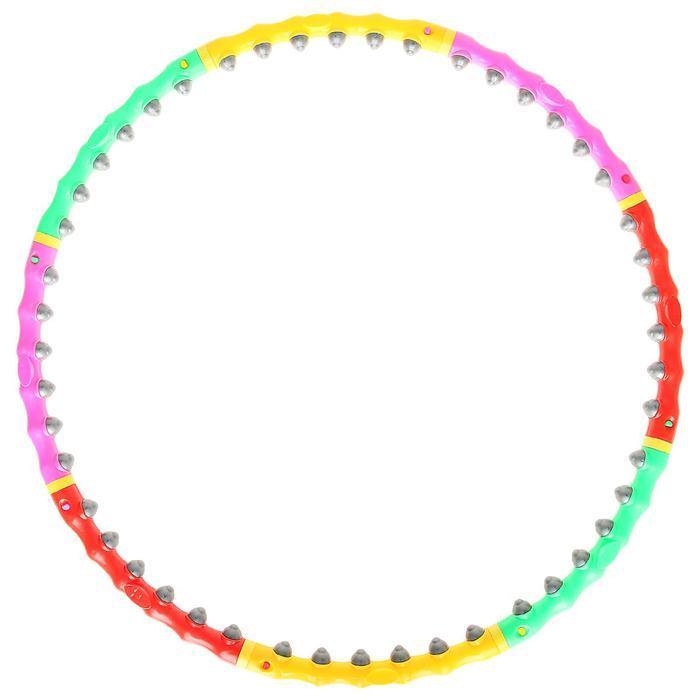 Обруч с резиновыми шипами, разборный, d=98 см, 1,2 кг, цвета МИКС - фото 1