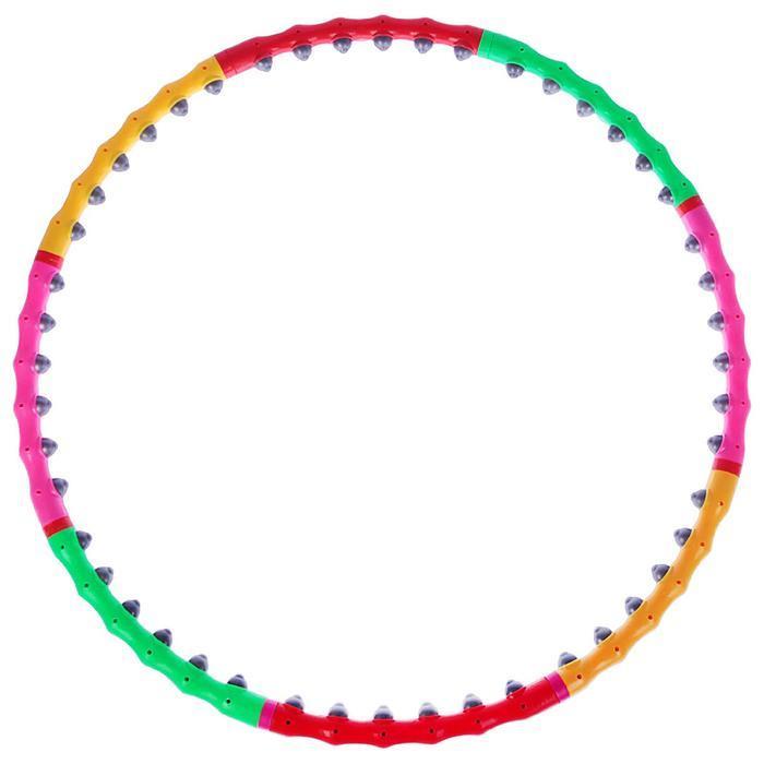 Обруч с резиновыми шипами, разборный, d=98 см, 1,2 кг, цвета МИКС - фото 2