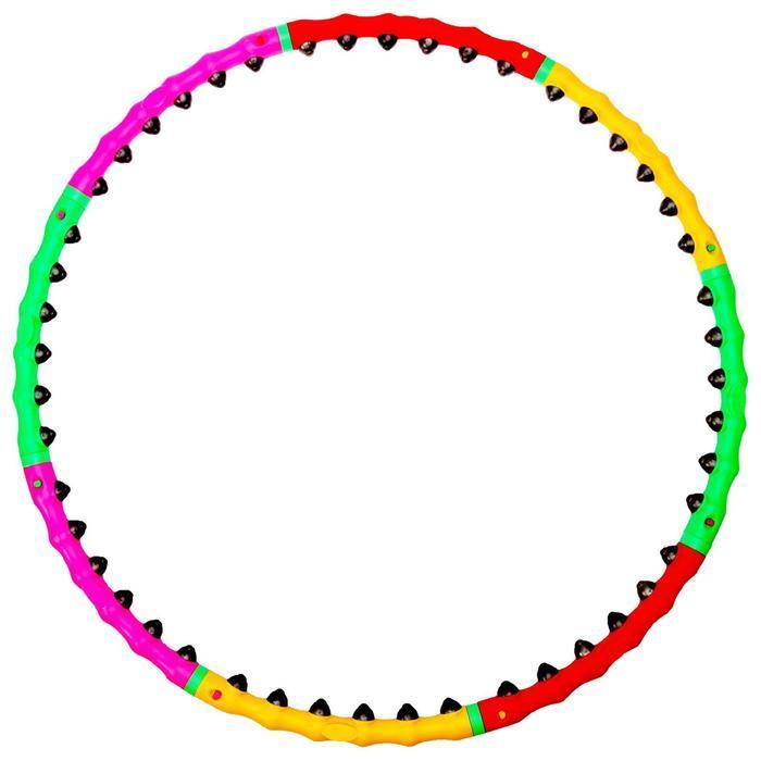 Обруч с резиновыми шипами, разборный, d=98 см, 1,2 кг, цвета МИКС - фото 3