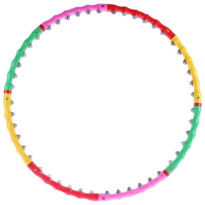 Обруч с резиновыми шипами, разборный, d=98 см, 1,2 кг, цвета МИКС - фото 4