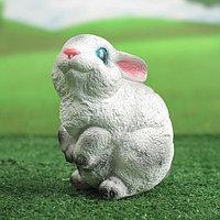 """Садовая фигура """"Зайчишка"""", бело-серая, 16 см"""