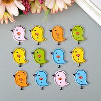 """Набор пуговиц декоративных дерево """"Птички"""" (набор 12 шт) 2,6х2,4 см"""
