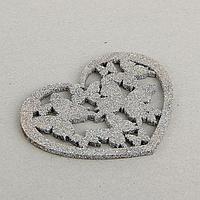"""Декор """"Сердце с бабочками"""", серебряный блеск, 12 х 12 см"""