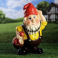 """Садовая фигура """"Гном с корзиной"""", разноцветный, 39 см, микс"""