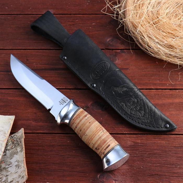 Нож охотничий «Королевский Лондон» Н8, ст. Х12МФ1, рукоять дюраль, береста, 23,5 см
