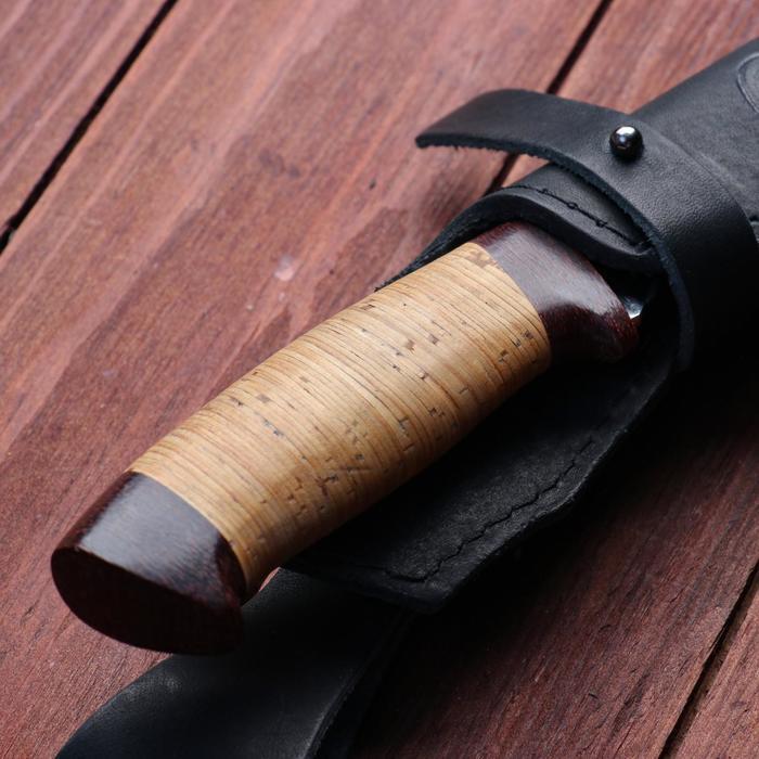 Нож охотничий «Шериф» Н68, ст. ЭИ-107, рукоять текстолит, береста, 23,5 см - фото 5
