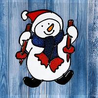 """Наклейка на стекло """"Снеговик с лыжными палочками"""" 14,5х11 см"""