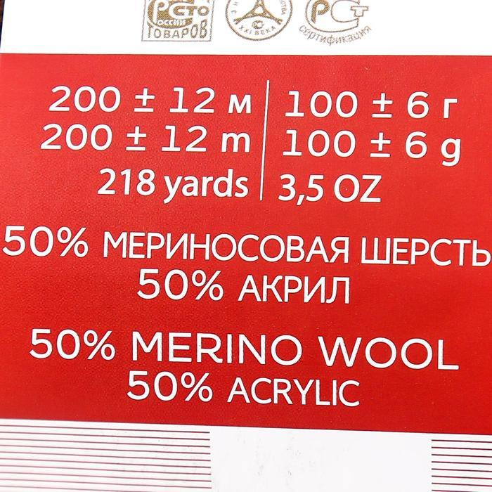 """Пряжа """"Мериносовая"""" 50%меринос.шерсть, 50% акрил 200м/100гр (251-Коричневый) - фото 5"""