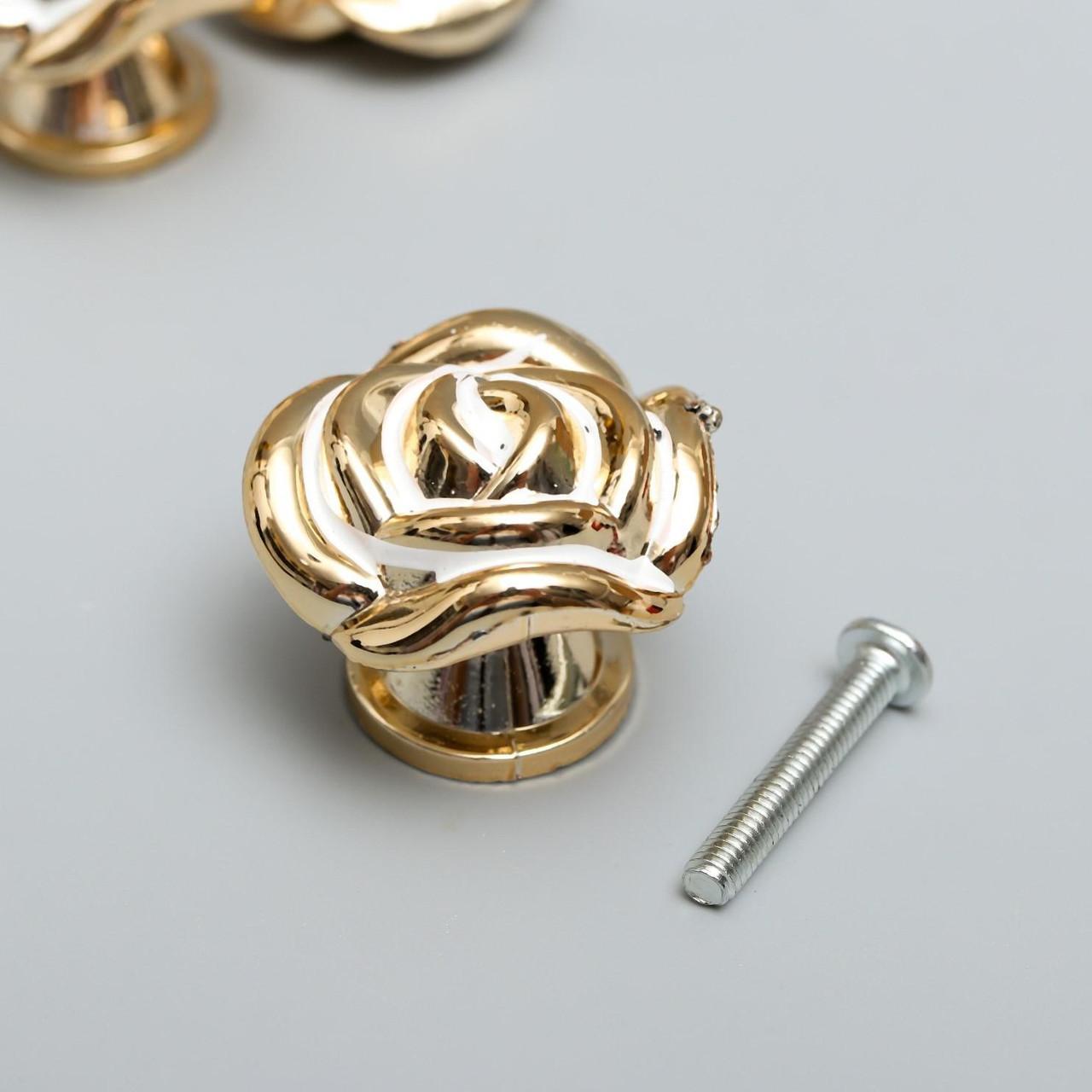 """Ручка для шкатулки пластик """"Роза"""" золото 2,6х3,3х3,3 см (3 штуки)"""