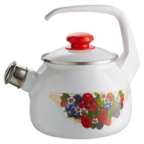 """Чайник эмалированный со свистком """"Ягодный микс"""" 2,5 литра"""