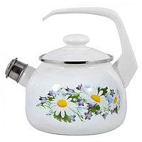 """Чайник эмалированный со свистком """"Ромашковое поле"""" 2,5 литра"""