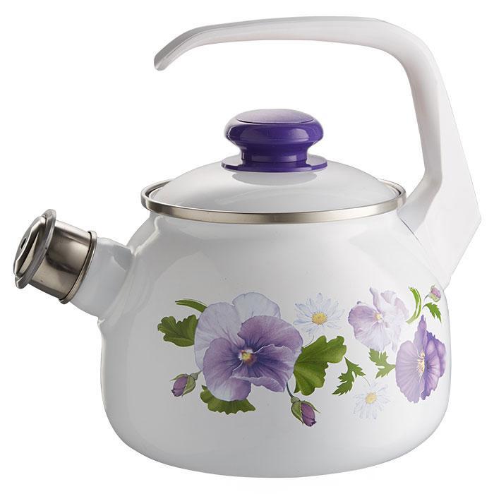 """Чайник эмалированный со свистком """"Анютины глазки"""" 2,5 литра"""