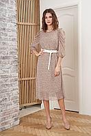 Женское осеннее шифоновое бежевое платье Fantazia Mod 3912 46р.