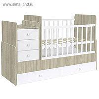 Кроватка-трансформер Polini kids Simple 1100 с комодом пеленальным, цвет вяз-белый