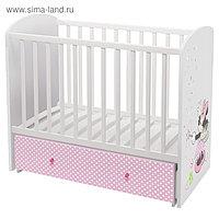 Детская кроватка Polini kids Disney baby «Минни Маус-Фея» маятник, цвет белый-розовый