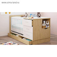 Кроватка-трансформер Polini kids classic, цвет дуб-белый глянец