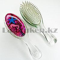 Массажная расческа 3D с металлическими зубцами Crystal comb с ракушками розовая