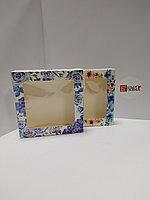 Коробка 15,5*15,5*4 см с окном, с цветами