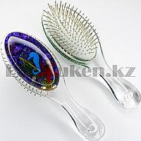 Массажная расческа 3D с металлическими зубцами Crystal comb с ракушками фиолетовая