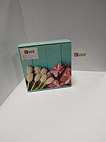 Коробка подарочная 20*20*7 см без окна, Голубая с тюльпанами