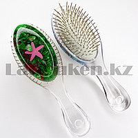 Массажная расческа 3D с металлическими зубцами Crystal comb с ракушками зеленая
