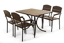 Комплект мебели «Фелиция» (стол + 4 стула из стали и древесины)
