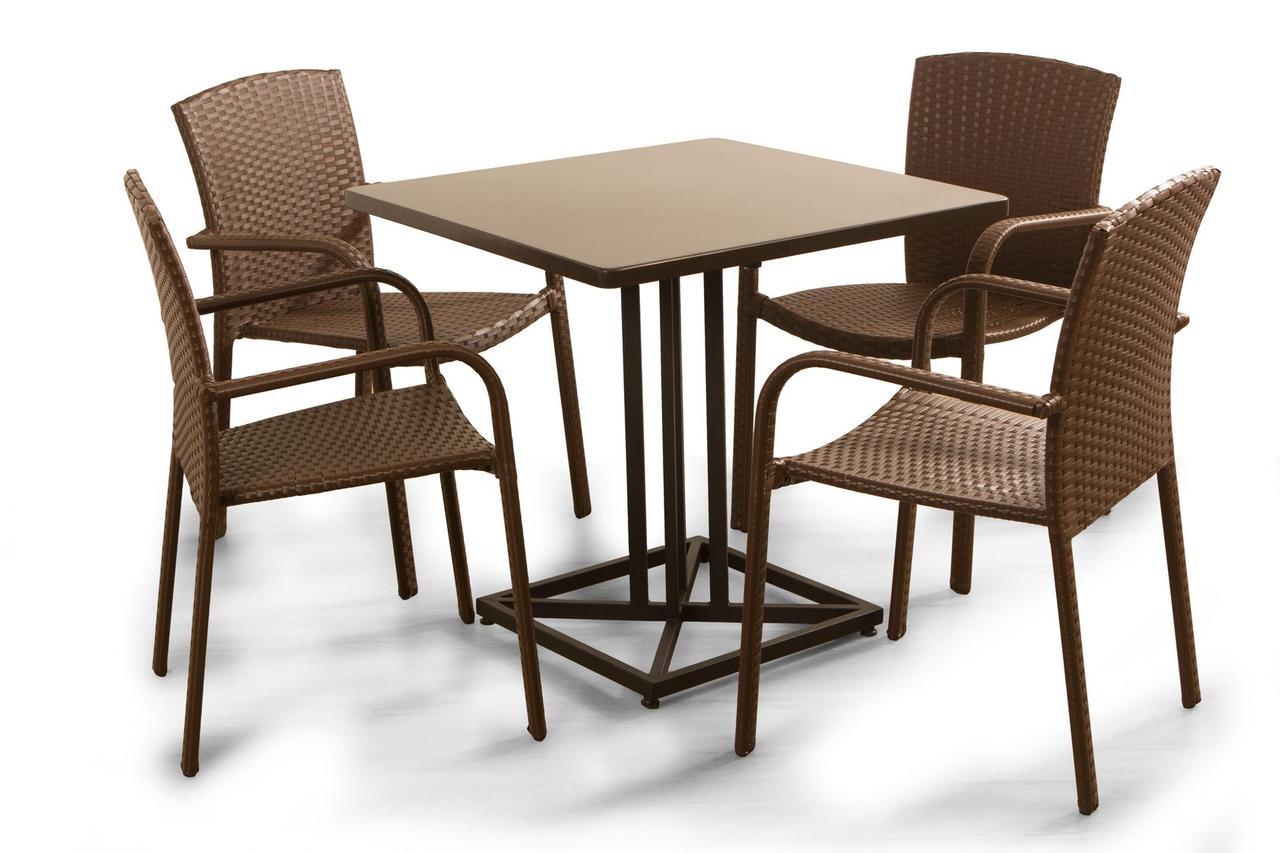 Комплект мебели «Тетра Люкс» стол и 4 стула из техноротанга