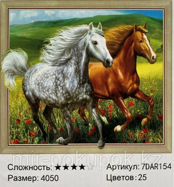 "Алмазная вышивка ""'Две лошади "" 7Д  40*50 см"