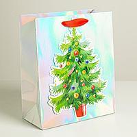 Пакет голографический вертикальный «Новогодняя ёлочка», 25 × 21 × 10 см