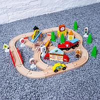 Железная дорога, 60 элементов, в собран. Виде: 48×46 см, в пластиком боксе