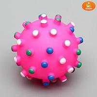 """Игрушка пищащая """"Бактерия"""" для собак, 6,3 см, розовая"""