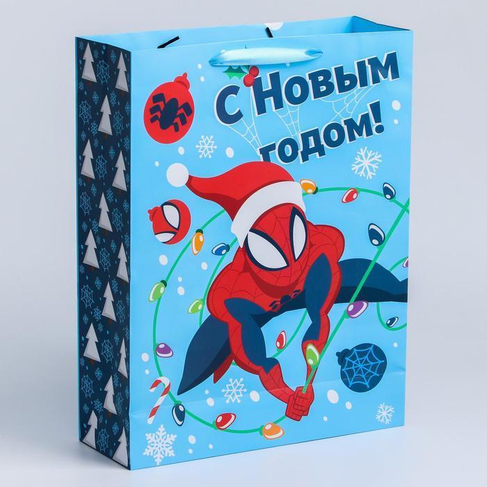 """Пакет ламинат вертикальный """"С Новым годом!"""", 31х40х11 см, Человек-Паук - фото 1"""