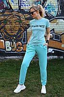 Женский летний трикотажный бирюзовый спортивный спортивный костюм Azzara 657 44р.