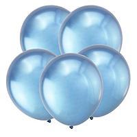 """Шар латексный 12"""", зеркальный, хром, набор 50 шт., цвет синий"""