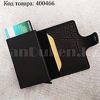 Картхолдер держатель для карт и визиток с RFID защитой экокожа KH-326 черный